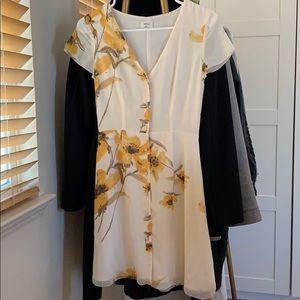 Aritzia Wilfred floral dress, birch/cairo gold